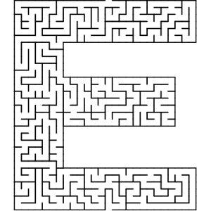 E shaped maze puzzle