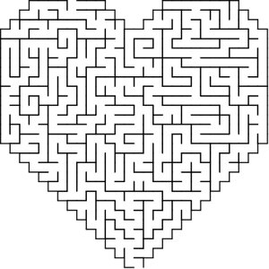 Heart-1 shaped maze puzzle