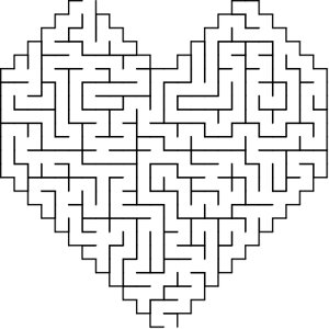 Heart shaped maze puzzle