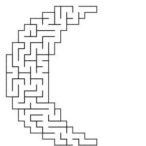 Moon shaped maze puzzle