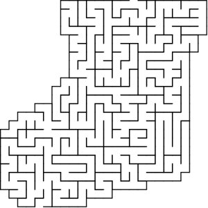 Stocking shaped maze puzzle